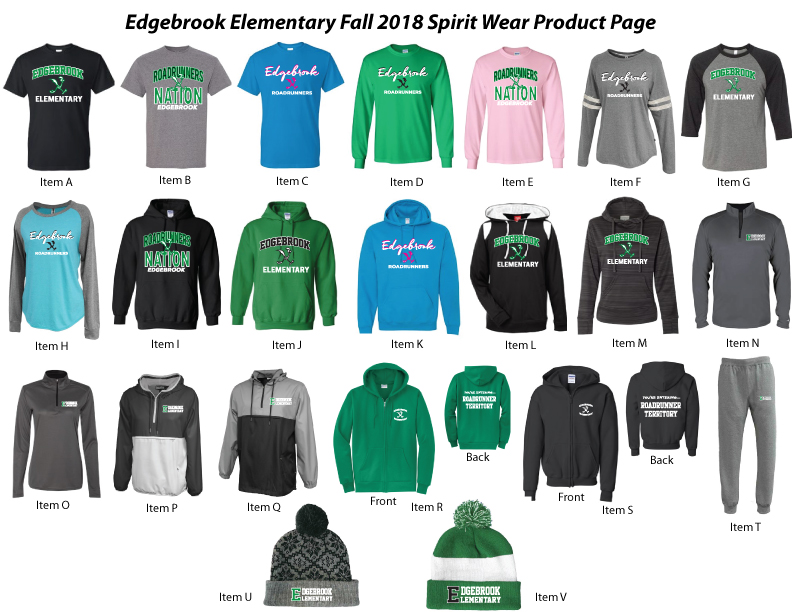 Orders Due 9/28/18, Checks payable to Edgebrook PTO